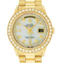 Rolex Mens 18K Yellow Gold MOP String Diamond 2.5 ctw Quickset President Wristwa