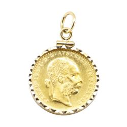 Austrain Ducat Pendant with Frame - 14 - 23KT Yellow Gold