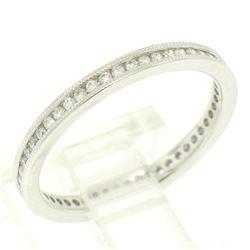 14K White Gold .51 ctw F VS2 Diamond Petite Milgrain Eternity 2.10mm Band Ring
