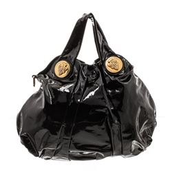 Gucci Black Patent Leather Large Hysteria Tote Bag