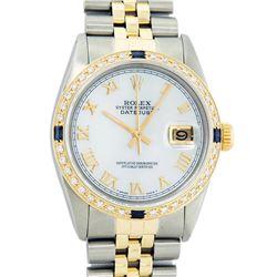 Rolex Mens 2 Tone 14K Mother Of Pearl Diamond & Sapphire 36MM Datejust Wristwatc