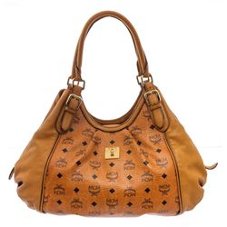 MCM Cognac Visetos Coated Canvas Leather Hobo Bag