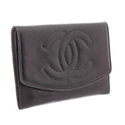 Chanel Vintage Black Leather Timeless Flap Wallet