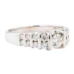 0.89 ctw Diamond Ring - 14KT Yellow Gold with Rhodium Plating
