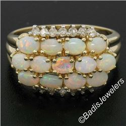 14kt Yellow Gold 1.80 ctw Oval Cabochon Opal and Round Diamond Wide Band Cluster