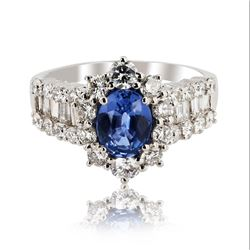 1.38 ctw EXTREMELY RARE UNHEATED VIOLETISH BLUE SAPPHIRE and 1.96 ctw Diamond Pl