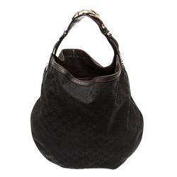 Gucci Brown Canvas Leather GG Wave Hobo Bag