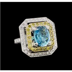 6.25 ctw Blue Zircon and Diamond Ring - 18KT White Gold
