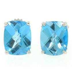 14k White Gold Cushion Cut Natural Blue Topaz Solitaire  Stud Earrings