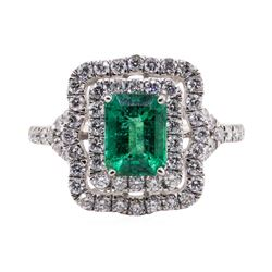 1.46 ctw Emerald and Diamond Ring - Platinum