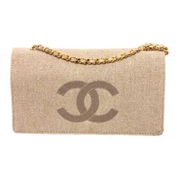 Chanel Beige Woven Wallet On Chain WOC
