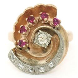Retro Vintage 14kt Rose Gold and Platinum 0.65 ctw Diamond and Ruby Swirl Ring