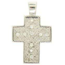 14K White Gold Petite .20 ctw Round Pave Set Diamond Textured Cross Pendant 2.43