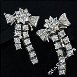 Vintage 18kt White Gold 2.45 ctw Round Diamond Bow Ribbon Dangle Earrings