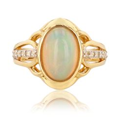 2.30 ctw Opal and 0.18 ctw Diamond 14K Yellow Gold Ring