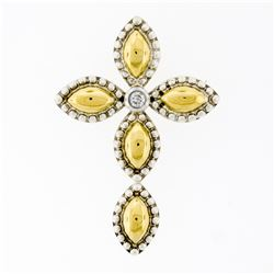 18K Gold Silver Bead Work Marquise Cross Pendant & Bezel Diamond