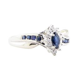 0.35 ctw Sapphire and Diamond Ring - 10KT White Gold