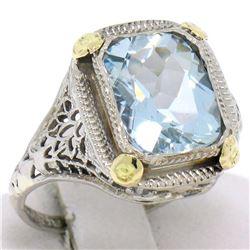 Art Deco 14k Two Tone Gold 2.50 ctw Cushion Blue Aquamarine Filigree Ring
