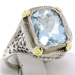 Art Deco 14k Two Tone Gold 2.50 ctw Cushion Blue Aquamarine Filigree Ring