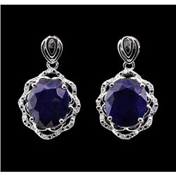 14.2 ctw Sapphire and Diamond Earrings - 14KT White Gold