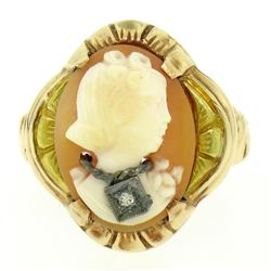 Antique 10kt Rose and Green Gold Carved Cameo and Diamond Ring