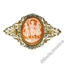 Victorian Gold Filled Detailed Open Work Filigree Carved Shell Cameo Brooch