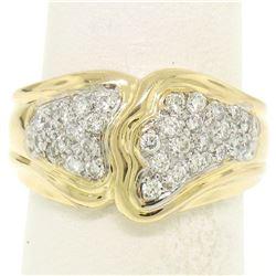 18K Yellow Gold 0.50 ctw F VS1 Pave Set Round Diamond Wavy Wide Band Ring