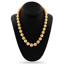 10 - 13mm Golden South Sea Pearl 14K Yellow Gold Necklace