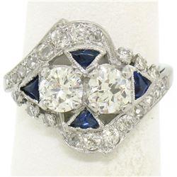 Antique Art Deco Milgrain Platinum 1.69 ctw Old European Rose Cut Diamond Ring