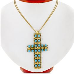 18k Yellow Gold  Flexible Movable Turquoise Bead Cross Pendant Chain