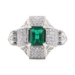 2.87 ctw Emerald and Diamond Ring - Platinum