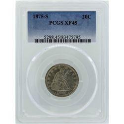 1875-S Seated Liberty Twenty Cent Piece Coin PCGS XF45