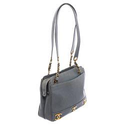 Chanel Vintage Blue Caviar Leather CC Tote Bag