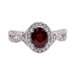1.17 ctw Ruby and Diamond Ring - 14KT White Gold