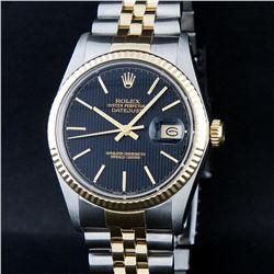 Rolex Mens 2 Tone 14K Black Tapestry Index 36MM Datejust Wristwatch