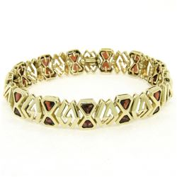 Vintage 14kt Yellow Gold 3.12 ctw Trillion Garnet Wide Tennis Bracelet
