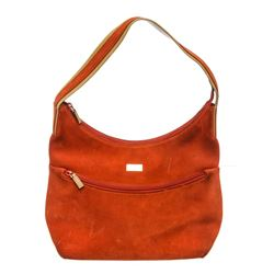 Gucci Orange Suede Leather Trim Shoulder Bag