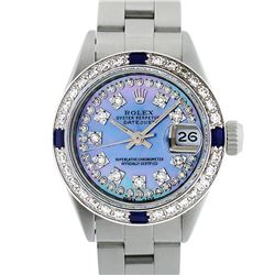 Rolex Ladies Stainless Steel Blue MOP Diamond & Sapphire 18K Gold Bezel Watch