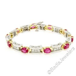 14kt White and Yellow Gold 10.60 ctw Pink Tourmaline and Diamond Statement Brace