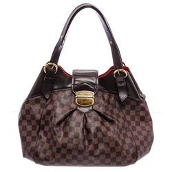 Louis Vuitton Damier Ebene Canvas Leather Sistina GM Bag