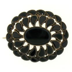 10k Gold Black Onyx Milgrain Brooch Pin Pendant