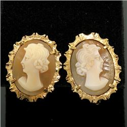 18k Yellow Gold Carved Shell Cameo Earrings w/ Etched & Textured Frames