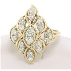 14k Solid Gold Marquise Shaped Diamond Dinner Ring w/ Floating Diamond Settings