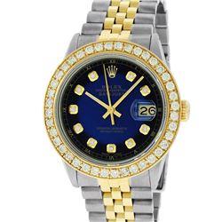 Rolex Mens 2 Tone 18K Blue Vignette 1.9 ctw Diamond Datejust Wristwatch With Rol