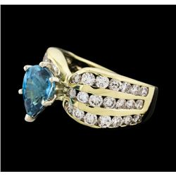 1.87 ctw Topaz and Diamond Ring - 14KT Yellow Gold