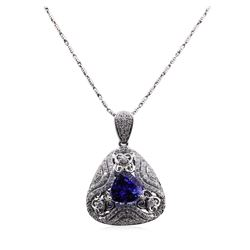 4.76 ctw Tanzanite and Diamond Pendant With Chain - 14KT White Gold