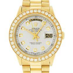 Rolex Mens 18K Yellow Gold Silver Diamond 1.9 ctw Quickset President Wristwatch