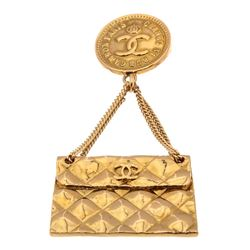 Chanel Gold Plated Quilted Flap Bag Drop Pendant Pin Brooch