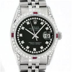 Rolex Mens Stainless Steel Diamond Lugs & Ruby Datejust Wristwatch With Rolex Bo