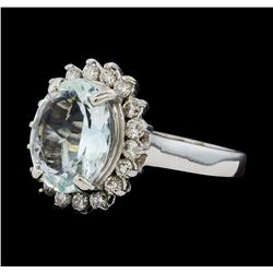 3.48 ctw Aquamarine and Diamond Ring - 14KT White Gold